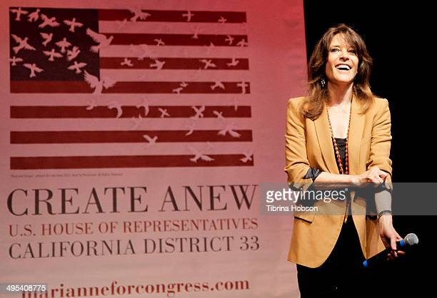Marianne Williamson speaks at her election rally on June 2, 2014 in Santa Monica, California.