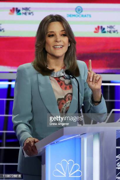 Marianne Williamson speaks during the second night of the first Democratic presidential debate on June 27, 2019 in Miami, Florida. A field of 20...