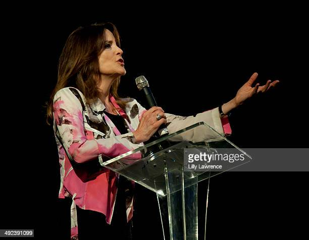 Marianne Williamson speaks on stage at her campaign rally at Saban Theatre on May 19, 2014 in Beverly Hills, California.