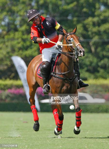 Mariano Agurerre of Postage Stamp hits a penalty shot against Pilot during the 2019 Captive One U.S. Open Polo Championship on April 7, 2019 at the...