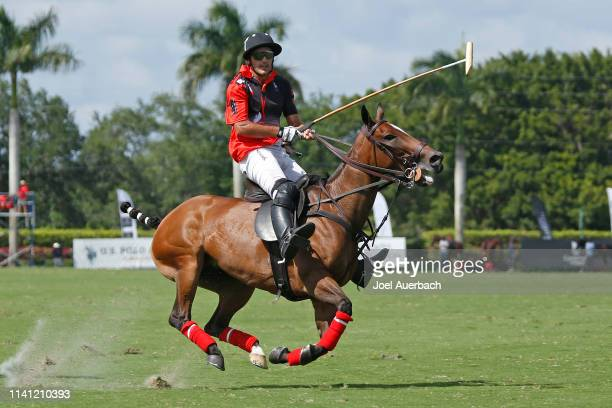Mariano Agurerre of Postage Stamp rides up field against Pilot during the 2019 Captive One US Open Polo Championship on April 7 2019 at the...