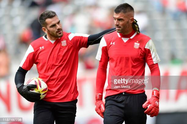 Mariano Andujar and Daniel Zappa of Estudiantes in action prior a match between Estudiantes and Banfield as part of Copa de la Superliga 2019 at...