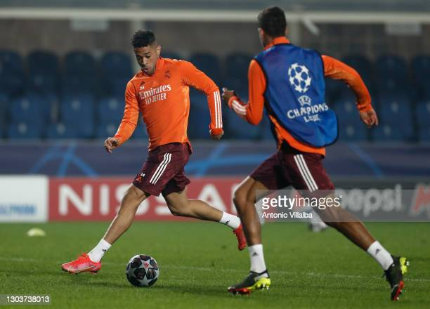 Mariano Díaz and Raphael Varane from Real Madrid CF at Bérgamo training ground on February 23, 2021 in Madrid, Spain.