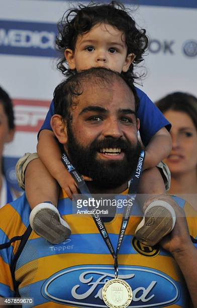 Mariano de la Fuente of Hindu celebrates with his medal after winning a final match between CUBA and Hindu Club as part of URBA Top 14 at CASI Club...
