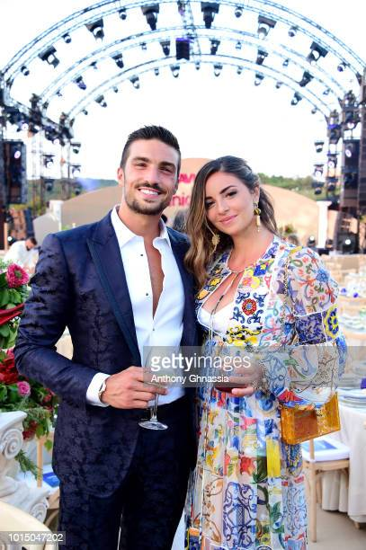 Mariano Di Vaio and Eleonora Brunacci attend the Unicef Summer Gala Presented by Luisaviaroma cocktail party at Villa Violina on August 10 2018 in...