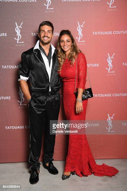 Mariano Di Vaio and Eleonora Brunacci attend the YSL Beauty Club Party during the 74th Venice Film Festival at Arsenale on September 8 2017 in Venice...