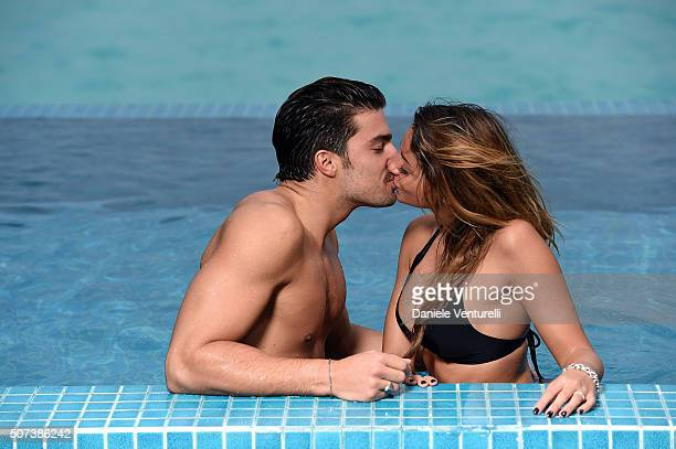 Mariano di Vaio and Eleonora Brunacci pose during the vacation at Hideaway Beach Resort Spa on January 29 2016 in Dhonakulhi Maldives
