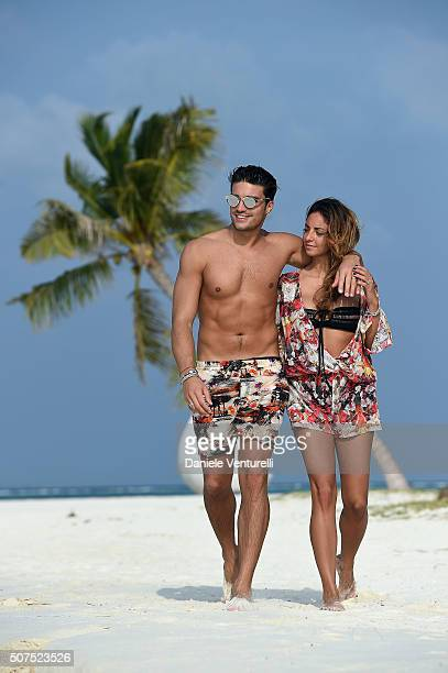 Mariano Di Vaio and Eleonora Brunacci pose during the vacation at Hideaway Beach Resort Spa on January 30 2016 in Dhonakulhi Maldives