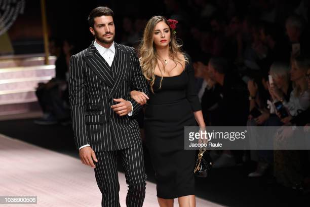 Mariano Di Vaio and Eleonora Brunacci walk the runway at the Dolce Gabbana show during Milan Fashion Week Spring/Summer 2019 on September 23 2018 in...