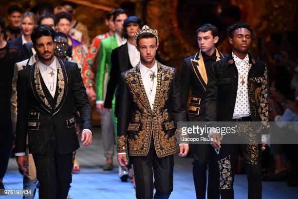 Mariano Di Vaio Cameron Dallas and Kailand Wonder walk the runway at the Dolce Gabbana show during Milan Men's Fashion Week Spring/Summer 2019 on...