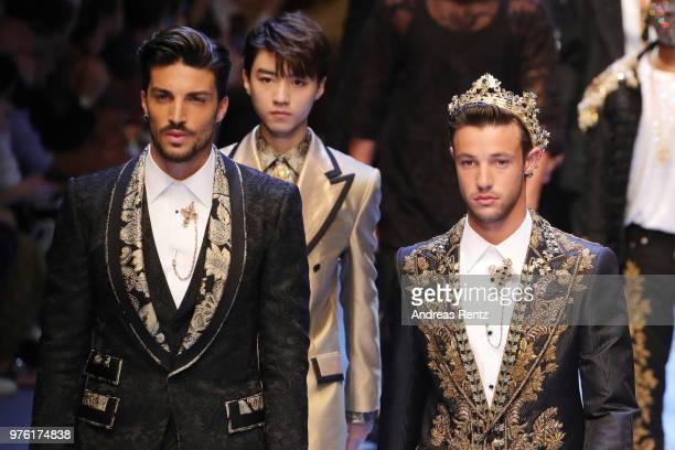 Mariano Di Vaio Karry Wang and Cameron Dallas walk the runway at the Dolce Gabbana show during Milan Men's Fashion Week Spring/Summer 2019 on June 16...