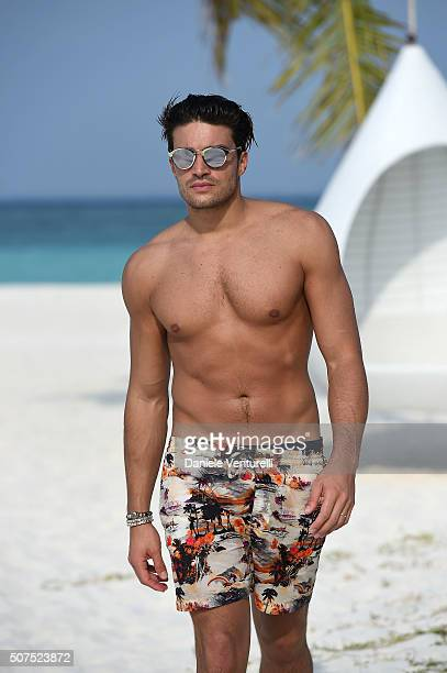Mariano Di Vaio poses during the vacation at Hideaway Beach Resort Spa on January 30 2016 in Dhonakulhi Maldives