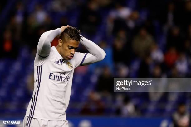 Mariano Diaz forward of Real Madrid reacts during the La Liga Santander match between Deportivo de La Corua and Real Madrid at Riazor Stadium on...