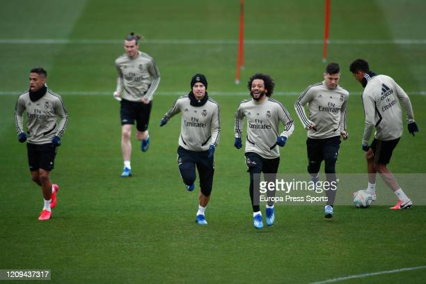 Mariano Diaz Gareth Bale James Rodriguez Marcelo Luka Jovic and Raphael Varane of Real Madrid trains during the training session of Real Madrid at...