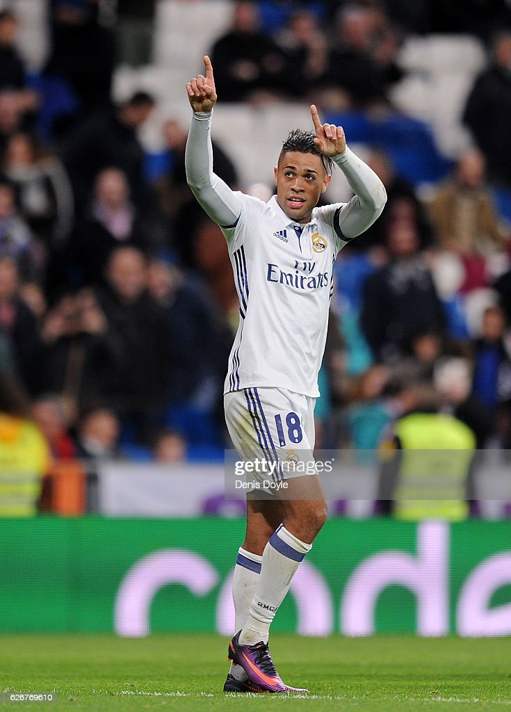 Mariano Diaz Mejia of Real Madrid CF celebrates after scoring Real's 5th and his 3rd goal during the Copa del Rey last of 32 match between Real Madrid and Cultural Leonesa at estadio Santiago Bernabeu on November 30, 2016 in Madrid, Spain.