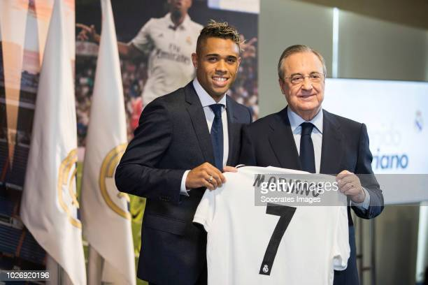 Mariano Diaz Mejia of Real Madrid CF Florentino Perez President of Real Madrid during the Presentation Mariano Diaz of Real Madrid at the Santiago...