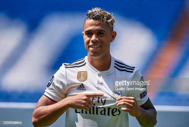 Mariano Diaz Mejia reacts on the pitch after being announced as a Real Madrid player at Santiago Bernabeu Stadium on August 31 2018 in Madrid Spain