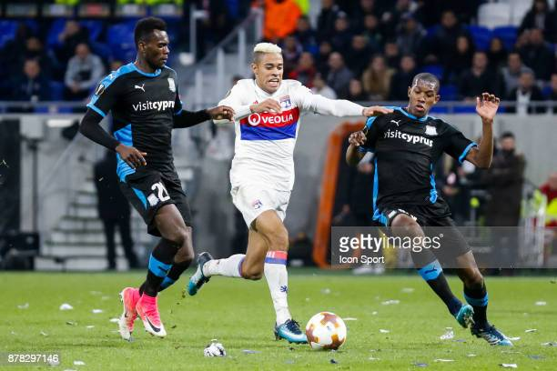 Mariano Diaz of Lyon and Alef of Limassol and Jander of Limassol during europa league match between Olympique Lyonnais and Apollon Limassol at Parc...