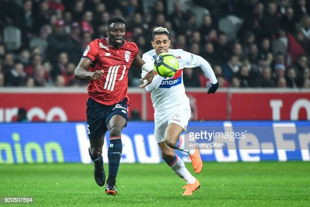 Mariano Diaz of Lyon and Bakary Soumaoro of Lille during the Ligue 1 match between Lille OSC and Olympique Lyonnais at Stade Pierre Mauroy on...
