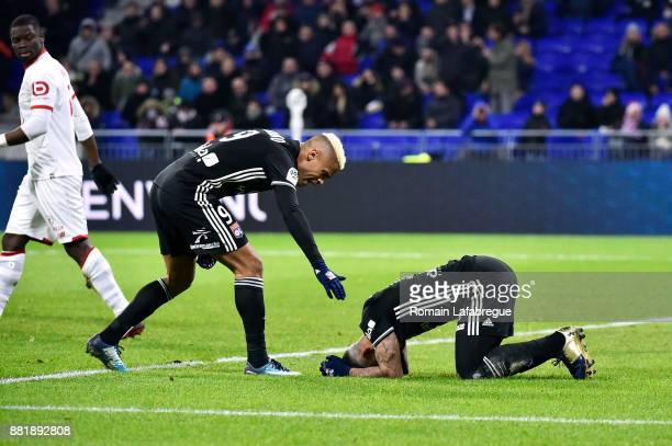 Mariano Diaz of Lyon and Memphis Depay of Lyon look dejected during the Ligue 1 match between Olympique Lyonnais and Lille OSC at Parc Olympique on...