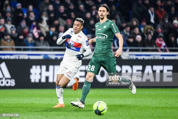 Mariano Diaz of Lyon and Neven Subotic of Saint Etienne during the Ligue 1 match between Olympique Lyonnais and AS SaintEtienne at Parc Olympique on...