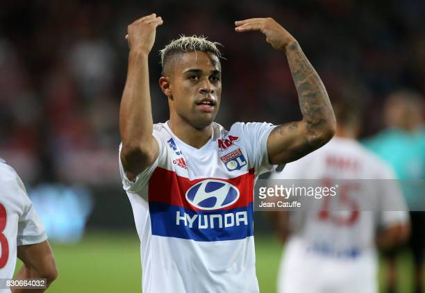Mariano Diaz of Lyon celebrates his goal during the French Ligue 1 match between Stade Rennais and Olympique Lyonnais at Roazhon Park on August 11...