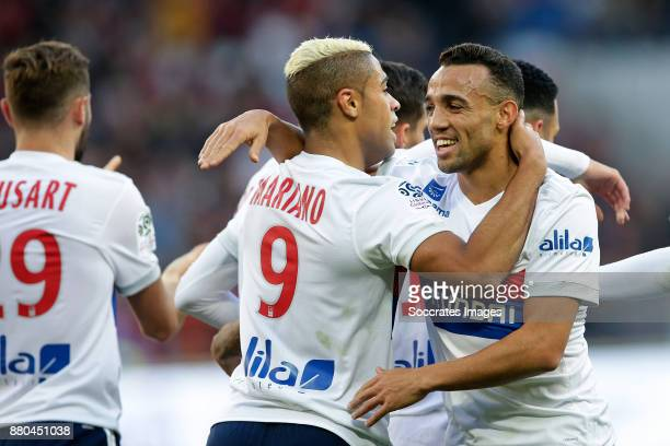 Mariano Diaz of Olympique Lyon Fernando Marcal of Olympique Lyon celebrates during the French League 1 match between Nice v Olympique Lyon at the...