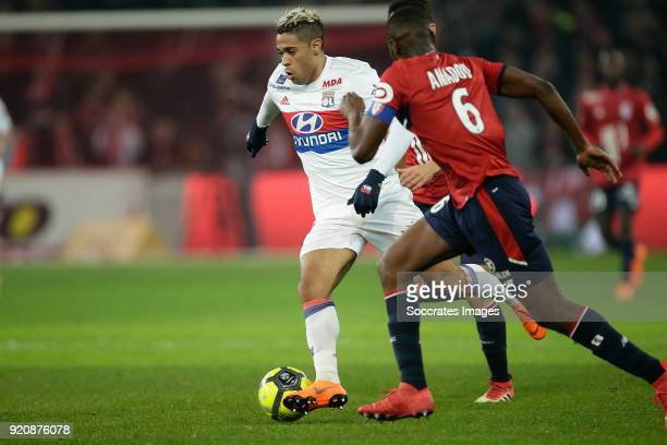 Mariano Diaz of Olympique Lyon Ibrahim Amadou of Lille during the French League 1 match between Lille v Olympique Lyon at the Stade Pierre Mauroy on...