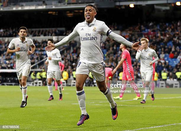 Mariano Diaz of Real Madrid celebrates after scoring his team's fifth goal during the Copa del Rey round of 32 second leg match between Real Madrid...