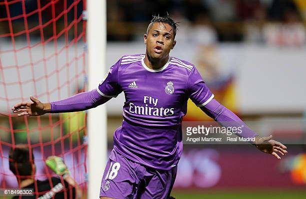 Mariano Diaz of Real Madrid celebrates after scoring his team's seventh goal during the Copa del Rey round of 32 first leg match between Cultural y...