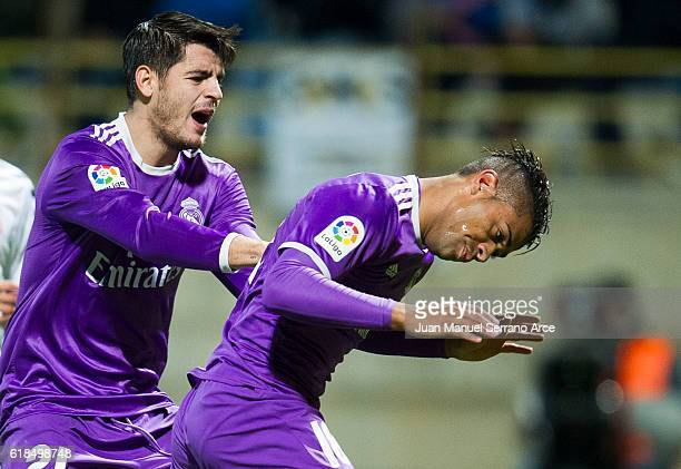 Mariano Diaz of Real Madrid celebrates after scoring his team's seventh goal during the Copa del Rey Round of 32 match between Cultural Leonesa and...