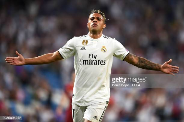 Mariano Diaz of Real Madrid celebrates after scoring his team's third goal during the Group G match of the UEFA Champions League between Real Madrid...