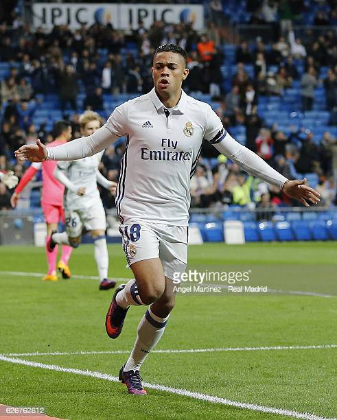 Mariano Diaz of Real Madrid celebrates after scoring the opening goal during the Copa del Rey round of 32 second leg match between Real Madrid CF and...