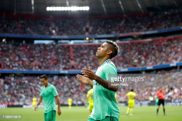 Mariano Diaz of Real Madrid celebrates scoring his sides fifth goal during the Audi cup 2019 3rd place match between Real Madrid and Fenerbahce at...