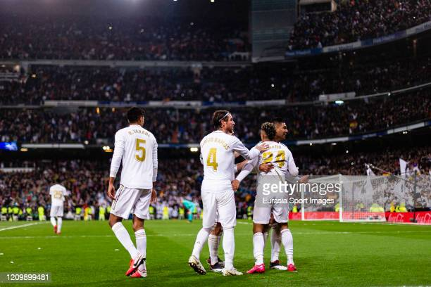 Mariano Diaz of Real Madrid celebrating his goal with his teammates during the Liga match between Real Madrid CF and FC Barcelona at Estadio Santiago...