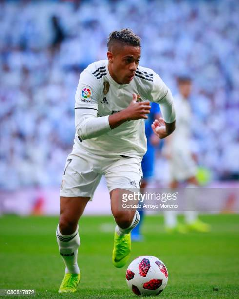 Mariano Diaz of Real Madrid CF controls the ball during the Copa del Rey fourth round match between Real Madrid and Melilla at Estadio Santiago...