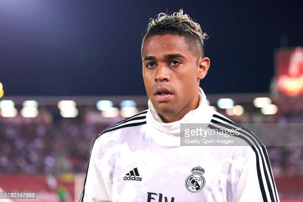 Mariano Diaz of Real Madrid CF looks on prior to the Liga match between RCD Mallorca and Real Madrid CF at Iberostar Estadi on October 19, 2019 in...