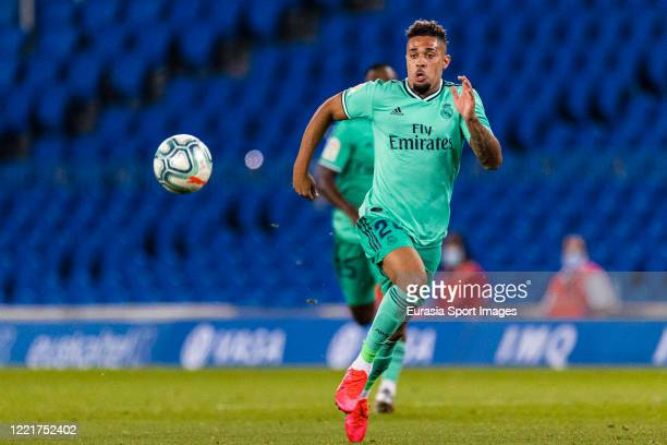 Mariano Diaz of Real Madrid chases the ball during the Liga match between Real Sociedad and Real Madrid CF at Estadio Anoeta on June 21, 2020 in San...