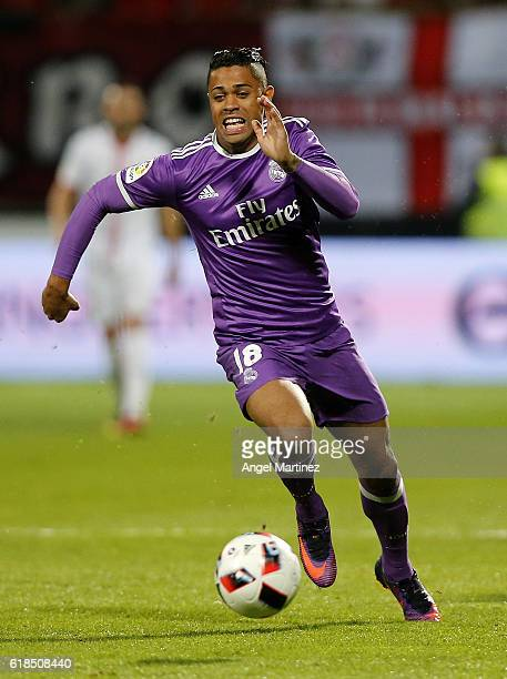 Mariano Diaz of Real Madrid in action during the Copa del Rey round of 32 first leg match between Cultural y Deportiva Leonesa and Real Madrid CF at...