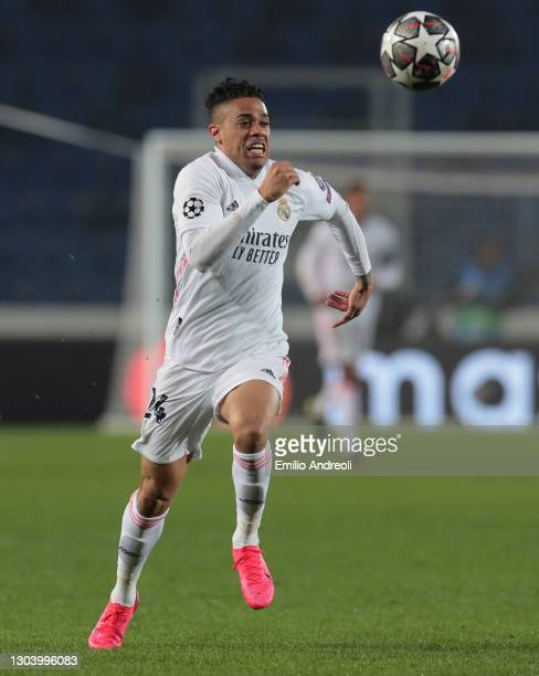 Mariano Diaz of Real Madrid in action during the UEFA Champions League Round of 16 match between Atalanta and Real Madrid at Gewiss Stadium on...