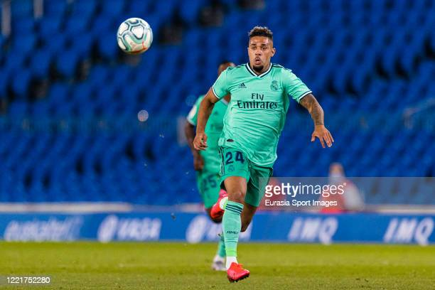 Mariano Diaz of Real Madrid looks at the ball during the Liga match between Real Sociedad and Real Madrid CF at Estadio Anoeta on June 21, 2020 in...
