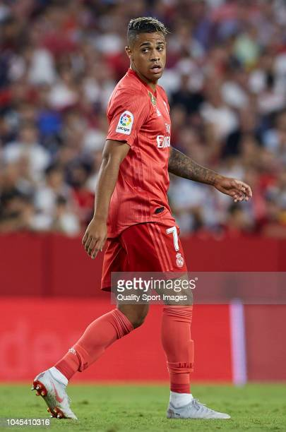 Mariano Diaz of Real Madrid looks on during the La Liga match between Sevilla FC and Real Madrid CF at Estadio Ramon Sanchez Pizjuan on September 26...