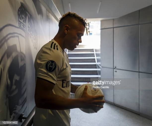 Mariano Diaz of Real Madrid poses during his official presentation at Santiago Bernabeu stadium on August 31 2018 in Madrid Spain