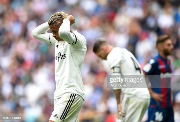 Mariano Diaz of Real Madrid reacts during the La Liga match between Real Madrid CF and Levante UD at Estadio Santiago Bernabeu on October 20 2018 in...