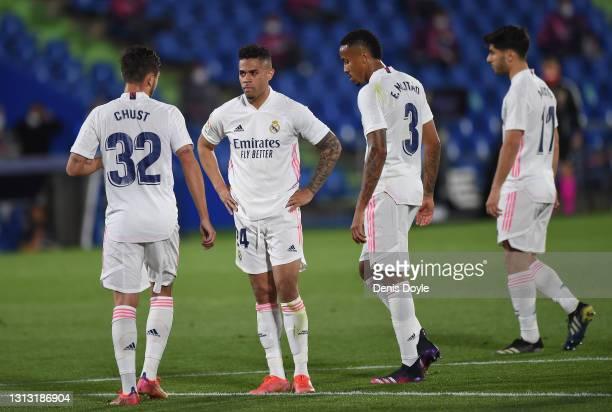 Mariano Diaz of Real Madrid reacts during the La Liga Santander match between Getafe CF and Real Madrid at Coliseum Alfonso Perez on April 18, 2021...