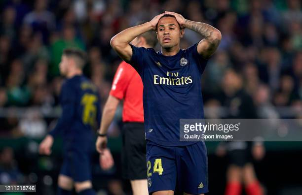 Mariano Diaz of Real Madrid reacts during the Liga match between Real Betis Balompie and Real Madrid CF at Estadio Benito Villamarin on March 08,...