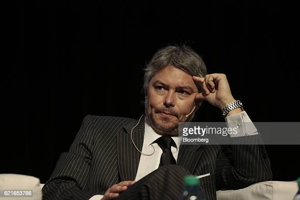 Mariano Federici president of the Financial Information Unit Argentina listens during a panel discussion at the 50th Anniversary Federation of Latin...