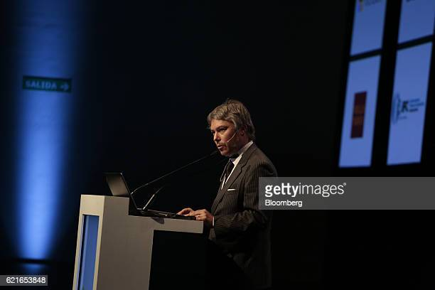 Mariano Federici president of the Financial Information Unit Argentina speaks during a panel discussion at the 50th Anniversary Federation of Latin...