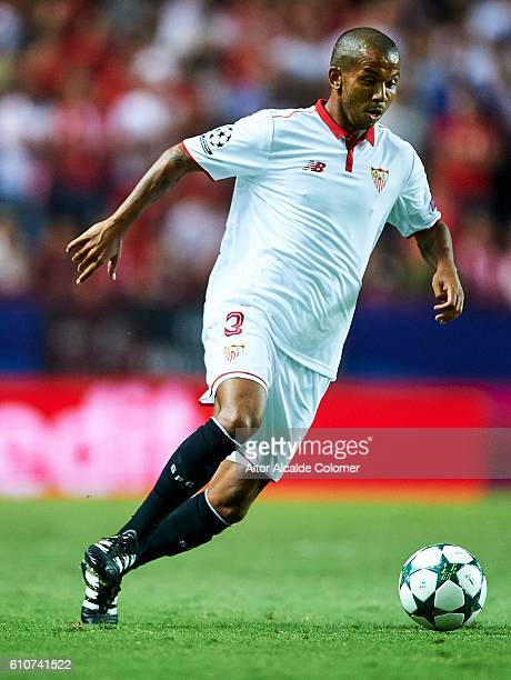 Mariano Ferreira of Sevilla FC in action during the UEFA Champions League match between Sevilla FC and Olympique Lyonnais at Sanchez Pizjuan stadium...