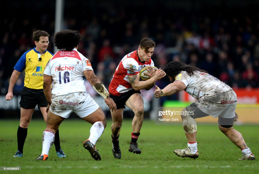 Mariano Galarza of Gloucester Rugby in action during the Aviva Premiership match between Gloucester Rugby and Leicester Tigers at Kingsholm Stadium on February 10, 2018 in Gloucester, England.